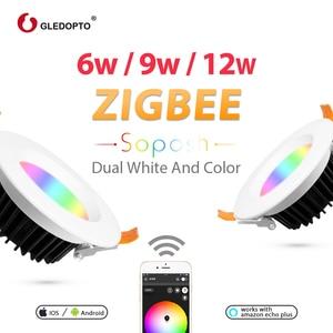 Image 3 - ZIGBEE home 6 W/9 W/12 W LED Downlight ทำงานกับ Amazon plus SmartThings rgb cct light AC100 240V dual สีขาว