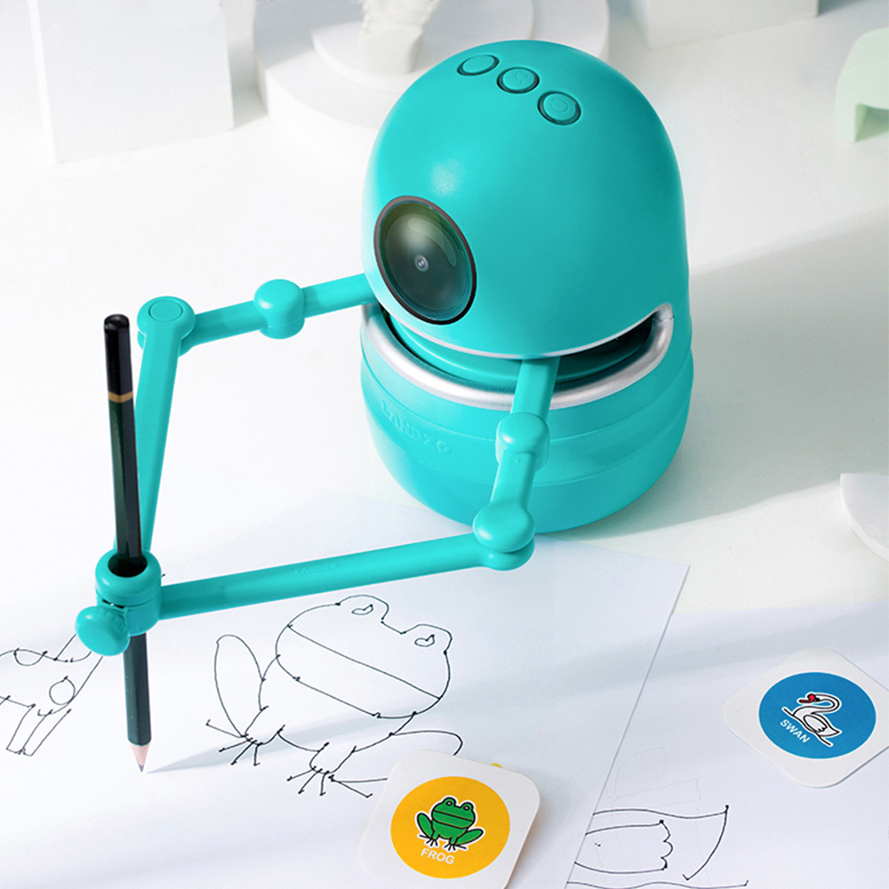 2021 New English Version Quincy Drawing Robot Puzzle Toy for Kids Student Learn Draw Spelling Math Children Educational Toy Gift