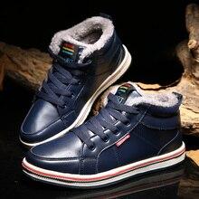 Зимние Теплые ботильоны; мужская повседневная обувь с высоким берцем; хлопковые плюшевые зимние ботинки; мужская обувь на шнуровке; мужские кроссовки; botas hombre