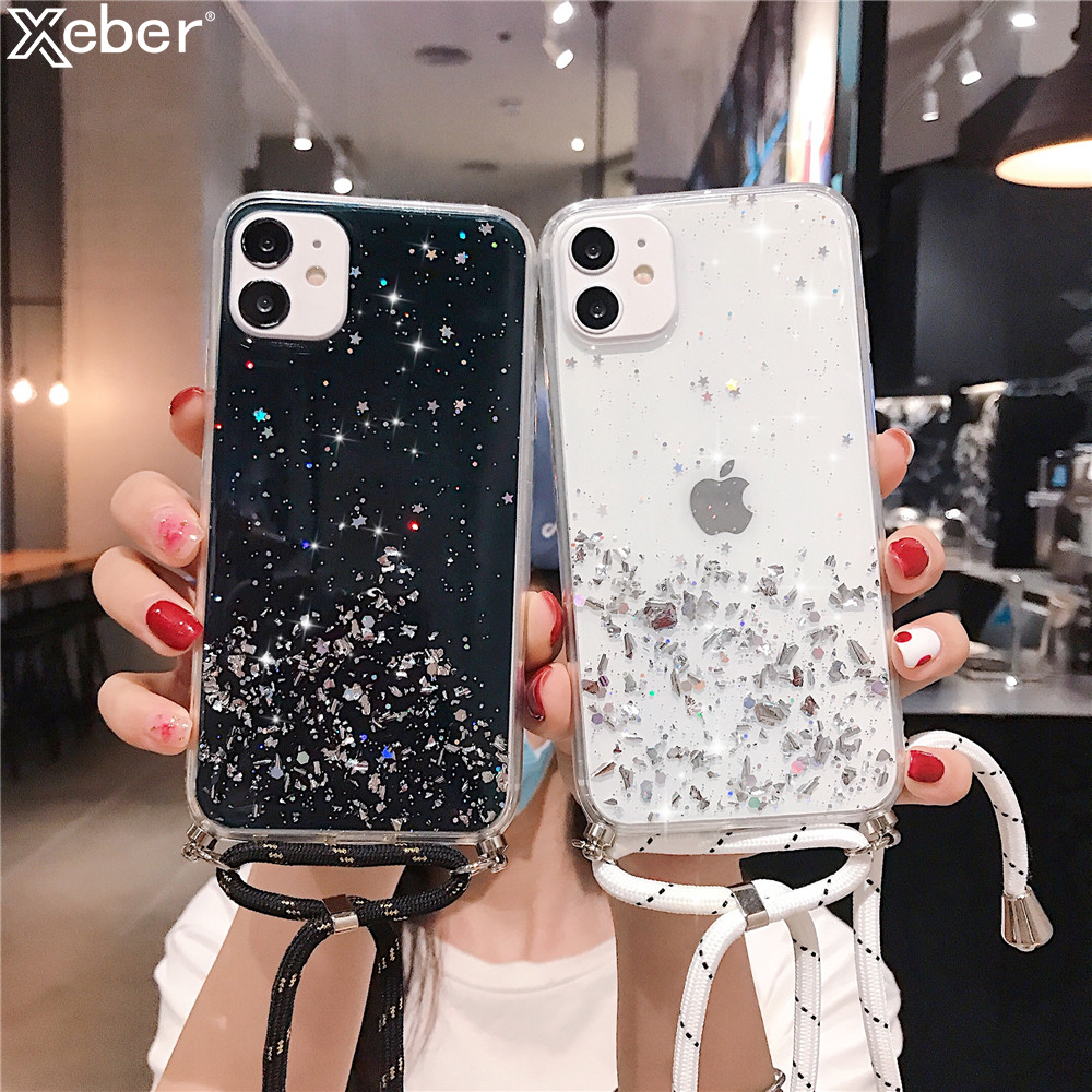 Sparkle Glitter Stars Sequins Foil Cover For Xiaomi Redmi Note 9 9S 8T 7 6 5 Pro K20 K30 Pro 8A 7A 6A 4X S2 5A GO Lanyard Case