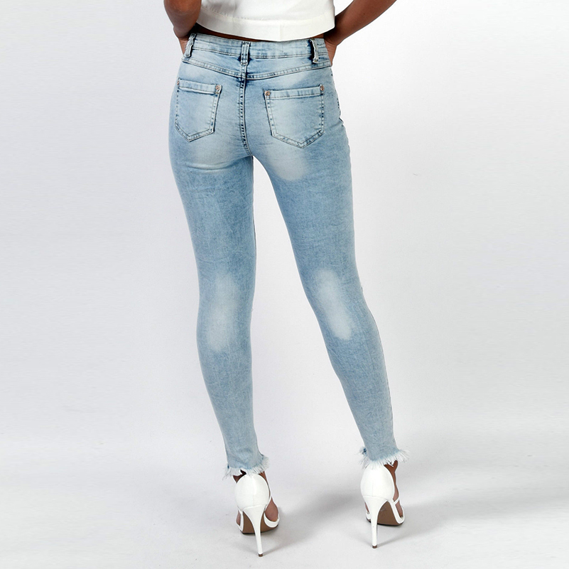 Casual Mid Ripped Pencil Style Summer Jeans Boyfriend 2019 Pants For Women Fashion Skinny New Cotton Denim Fall Waist Jeans