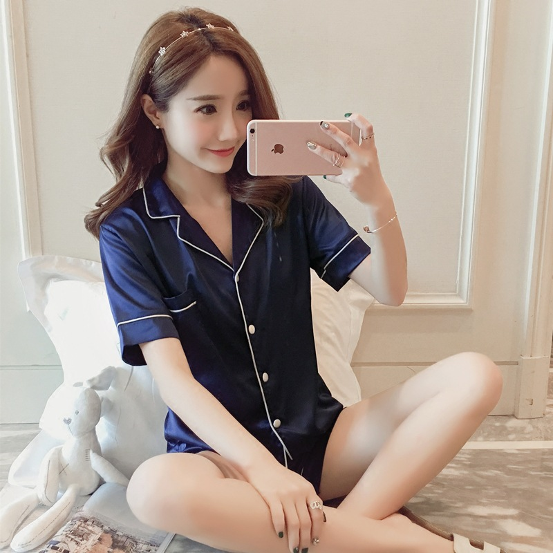 Hot Selling Summer New Products Victoria's Secret Cardigan Short Sleeve Imitated Silk Fabric WOMEN'S Pajamas Two-Piece Set