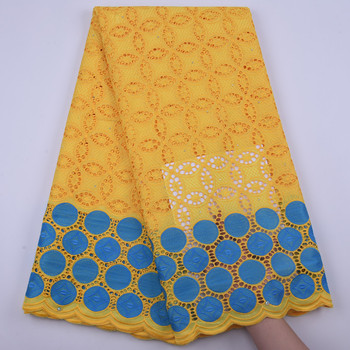 100% Cotton African Laces Fabric Latest yellow High Quality Lace French Cotton Laces Swiss Voile Lace Embroidery for Wedding