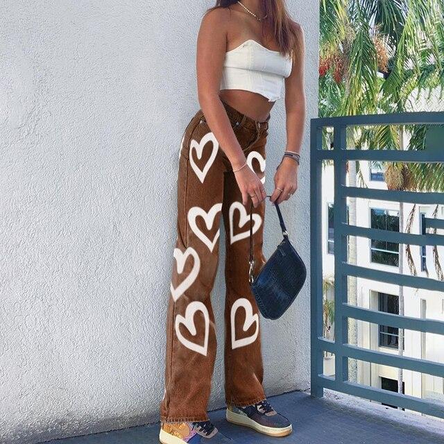 Vintage Heart Printed Y2K Baggy Jeans  3