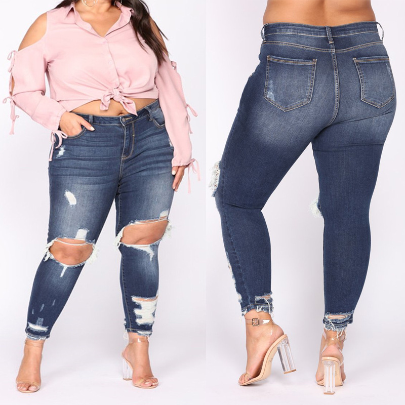 2019 New Style Europe And America AliExpress Wish Extra Large With Holes Cowboy Skinny Pants Washing Cat Scratch Fatty WOMEN'S P