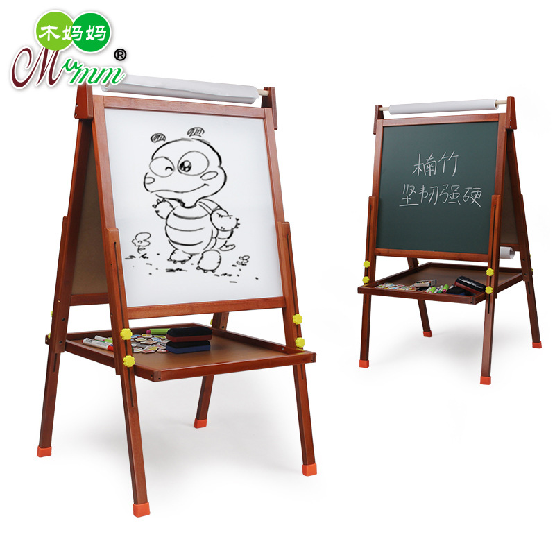 Moso Bamboo C- CHILDREN'S Drawing Board White Double-Sided Lifting Bracket Graffiti Painted Trace Elements Double-Sided Magnetic