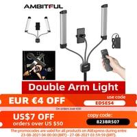 AMBITFUL-Luz LED de relleno de brazos dobles, tiras largas con pantalla LCD para estudio fotográfico, transmisión en vivo, AL-20, 3000K-6000K, 40W