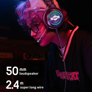 Image 3 - HOCO Led Light Gaming Headset Studio DJ Headphones Stereo Over Ear Wired Headphone With Microphone For PC PS4 Xbox One Gamer