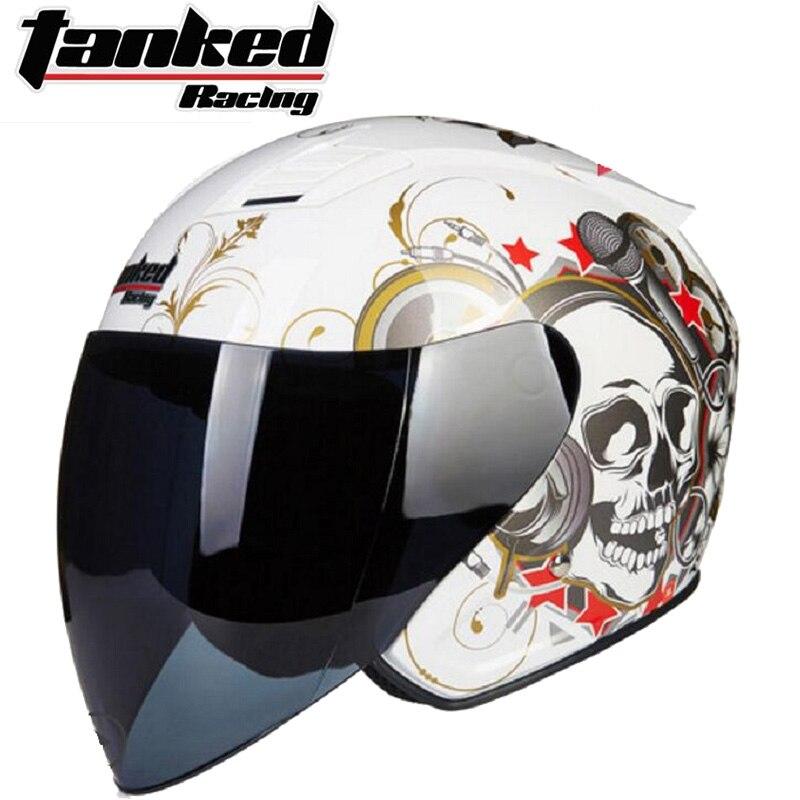 2019 новые рыцарские защиты Tanked Racing половина уход за кожей лица мотоциклетный шлем ABS мотоциклетные шлемы ПК линза козырек Four seasons универсальн