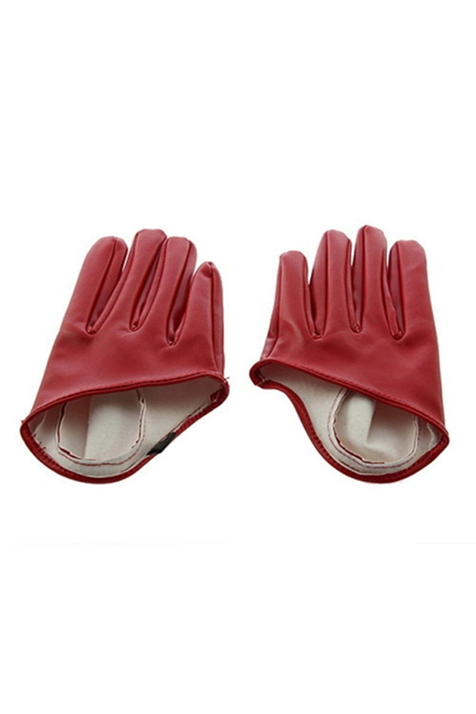 Women's Faux Leather Glove Five Finger Half Palm Gloves Red