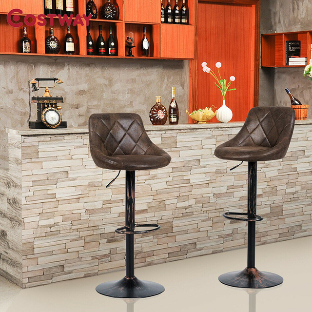 COSTWAY Set of 2 Adjustable Bar Stools with Backrest and Footrest Hot-stamping Cloth Bar Chair Adjustable Height by Lift Arm 1