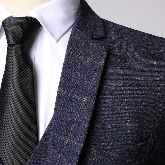 Three-piece Male Formal Business Plaids Suit for Men's Fashion   5