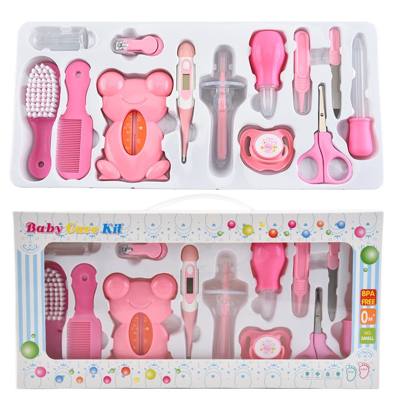 Image 2 - 13Pcs Baby Health Care Set Kids Grooming Kit Safety Manicure Nail  Clippers Comb Emery Hairbrush Thermometer Baby Care ToolGrooming