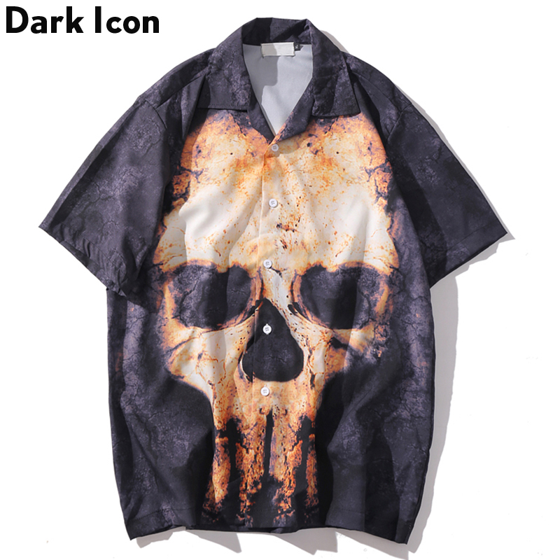 Dark Icon Hip Hop Shirts Skull Printed Men 2020 Summer Casual Street Men's Shirts Male Clothing