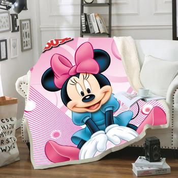 Disney kreskówka Minnie Mickey Mouse miękka flanelowa Sherpa Sherpa lato pokrycie koc rzut dla dzieci dzieci na kanapa z funkcją spania kanapa tanie i dobre opinie Tkaniny polar Anty-pilling Przenośne cartoon Wiosna jesień Raszlowe koc Klasa a BXQY-TZ PRINTED Zwykły Tkane Rectangle
