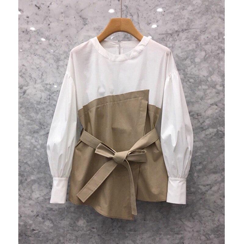 South Korea 2019 Autumn New Women's Personality Stitching Fake Two Long-sleeved Shirt Han Fan Loose Waist Shirt Tide
