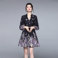 Zuoman feminino primavera elegante com decote em v vestido festa de alta qualidade vintage robe femme lanterna manga designer preto vestidos