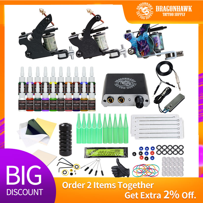Beginner Complete Tattoo Kit 2 Machines Gun Black Ink Set Power Supply Grips Body Art Tools Set Permanent Makeup Tattoo set