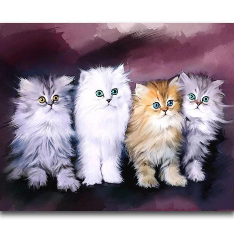 Full Drill White Cat 5D Diamond Painting Embroidery DIY Cross Stitch Kits Mosaic