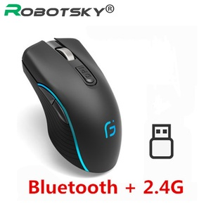 Image 1 - Rechargeable Computer Mouse Dual Mode Bluetooth 4.0 +2.4Ghz Wireless Mause 2400DPI Optical Gaming Mouse Gamer Mice for PC Laptop