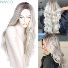 Nayoo Ombre Platinum Synthetic Wigs For 28 inch Platinum Wig  Long Wavy  Women Daily Party Wigs Two Tone Natural Middle Part Wig long straight wavy curly short ombre blonde wig platinum blonde synthetic wigs for women natural middle part wig