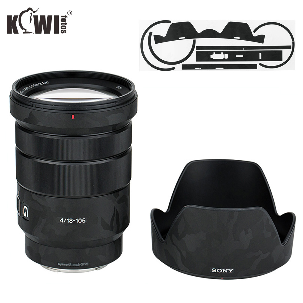 Shadow Black Anti-Scratch Lens And Lens Hood Cover Sticker SkinFilm For Sony E PZ 18-105mm F4 G OSS SELP18105G Lens & ALC-SH128