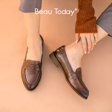 BeauToday Genuine Leather Loafers Women Penny Shoes Waxing Pointed Toe Slip On Casual Flats for Ladies Handmade 27112