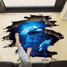 Темно синяя напольная наклейка с дельфином мечты 3d украшение
