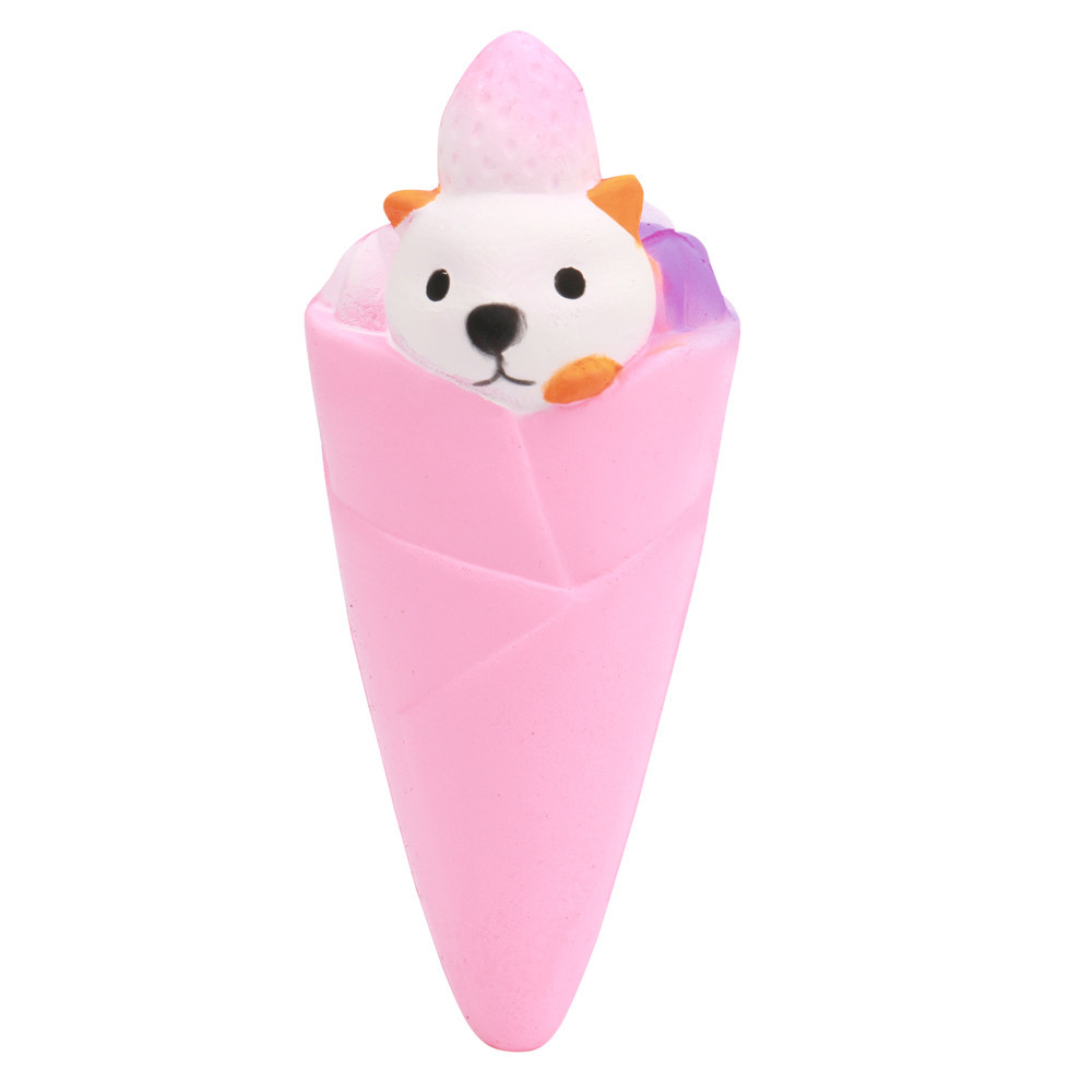 Litte Bear Ice Cream Scented Slow Rising Collection Squeeze Toy Antistress Simulation PU Pressure Relief Toy #B