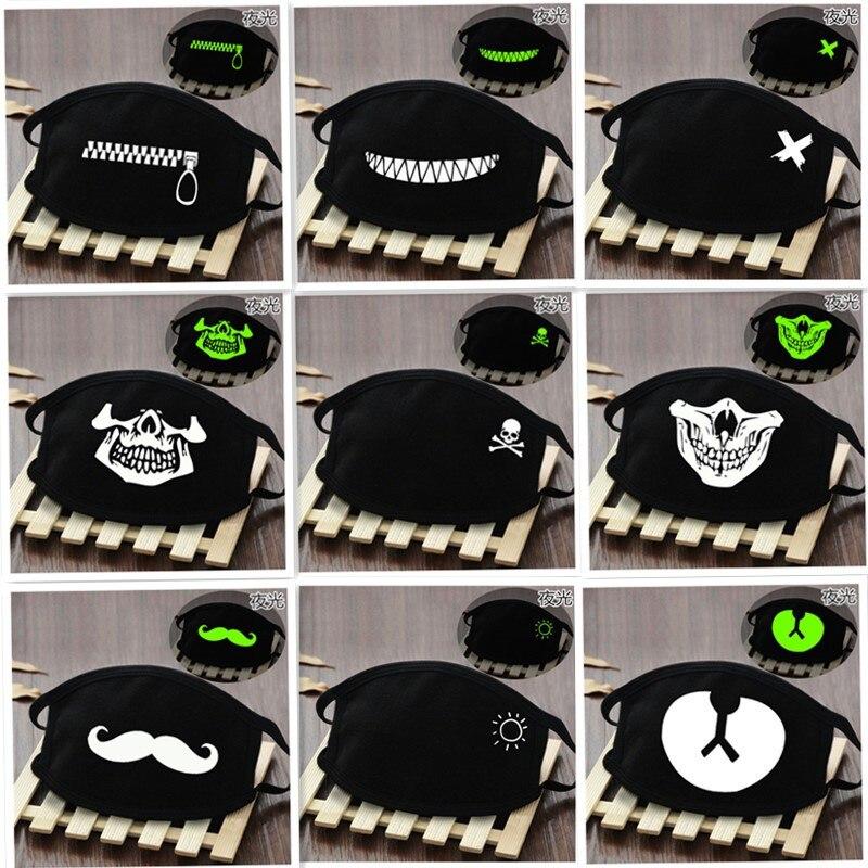 Kid Unisex Luminous Face Masks Black Print Kawaii Face Cover Half Cute Breathable Cotton Windproof Dustproof Cartoon Mask