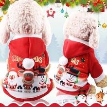 Рождественская куртка для собаки, красный свитер с рисунком Санта-Клауса и снеговика, милая шерстяная одежда для домашних животных, теплая удобная одежда на осень и зиму