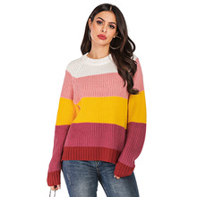 Autumn winter sweater sweater women's round neck pullover women's sweater striped contrast color sweater shirt women contrast vertical striped shirt