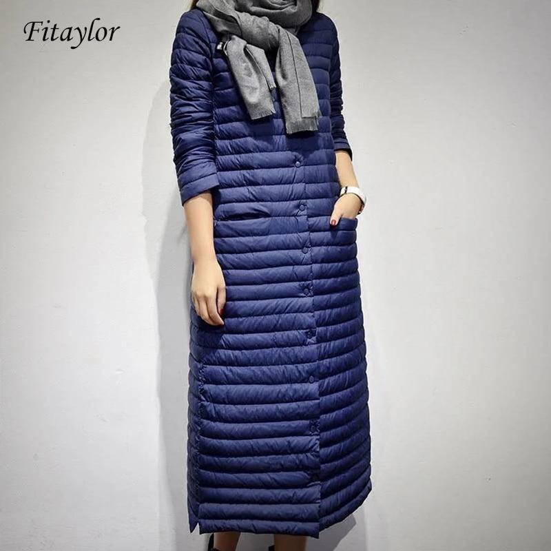 Fitaylor Long Down Jacket Women Winter Ultra Light Duck Down Jackets Women Casual Hooded Down Coat Female Autumn Puffer Jacket