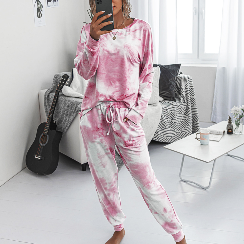 Fashion Printing Autumn Winter Sets Clothes Ladies Casual Home Wear Long-sleeved Shirt Women's Suits Two Piece Set Top And Pants