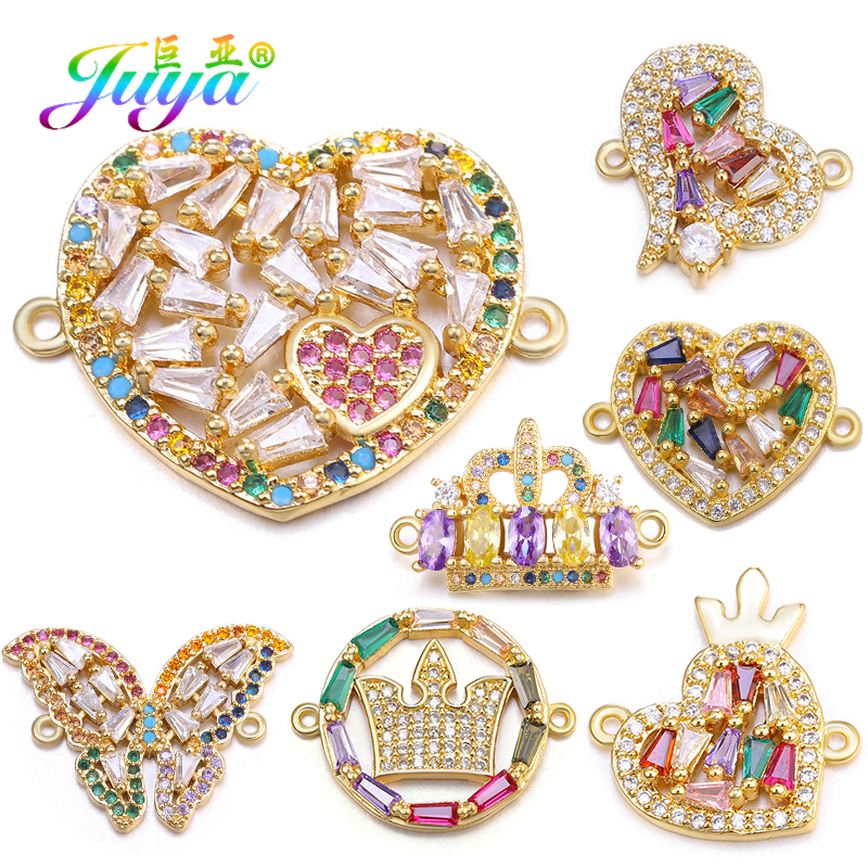 Juya DIY Bracelets Making Accessories Cubic Zirconia Heart Crown Butterfly Charm Connectors For Women Fashion Jewelry Making