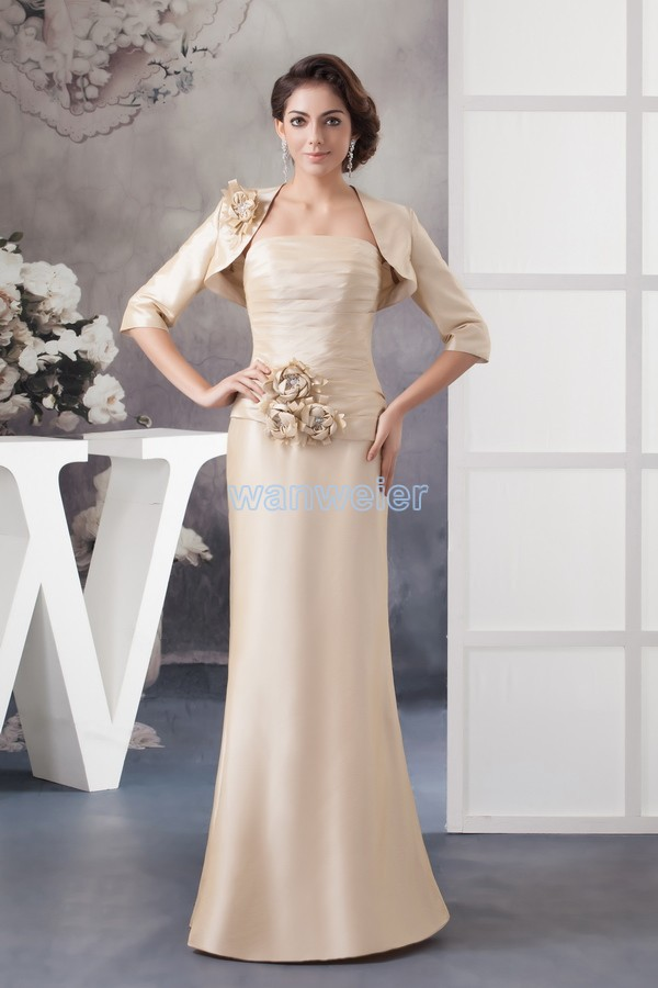 Free Shipping 2014 New Design Handmade Flowers Custom Color/size Gown With Jacket Long Sleeve Women Mother Of The Bride Dresses