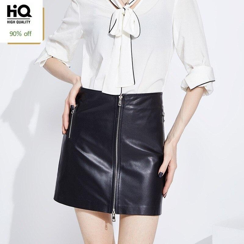 2020 New Designer Women Punk Zipper Mini Skirt High Waist Office Ladies Work Bodycon Pencil Skirts Sheepskin Genuine Leather