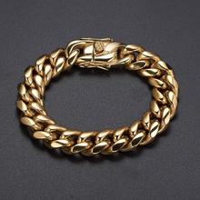 Granny Chic 16mm Wide 8-10 inch Mens Biker Gold Color Stainless Steel Miami Curb Cuban Link Chain Bracelet Jewelry