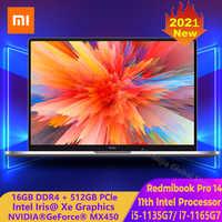 2021 nuevo Xiaomi RedmiBook Pro 14 para ordenador portátil de 14 pulgadas Mi cuaderno 11th Intel Core i5-1135G7 /i7-1165G7 MX450 Windows 10 de la computadora