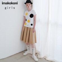 Imakkokoni branco pontos amarelos manga curta original design feminino simples e versátil camisa de fundo solto algodão verão