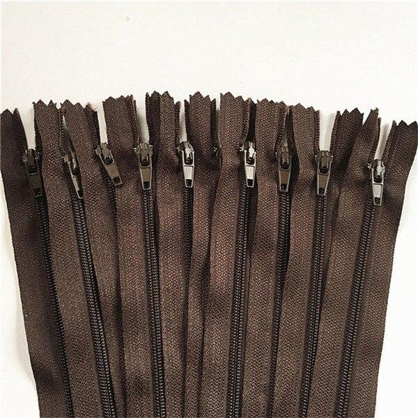10 шт. 3 дюйма-24 дюйма(7,5 см-60 см) нейлоновые застежки-молнии для шитья на заказ нейлоновые молнии оптом 20 цветов - Цвет: coffee