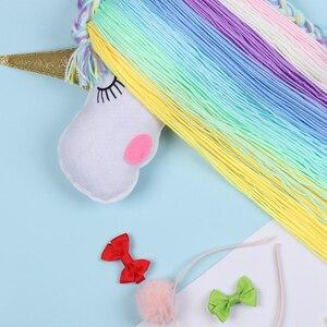 Image 4 - 3 יח\חבילה Unicorn שיער קשתות אחסון חגורת עבור בנות שיער קליפים Barrette גומייה לשיער תלייה ארגונית רצועת בעל שיער אבזרים