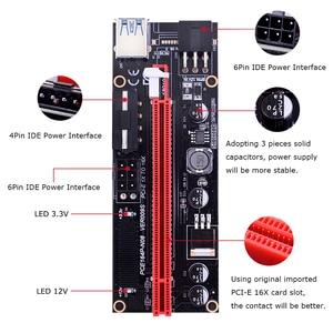 Image 4 - CHIPAL carte Riser double VER009S pcie LED/009S, PCI Express, câble USB 0.6, 1X à 16x3.0 M, alimentation 6 broches, pour Bitcoin Miner