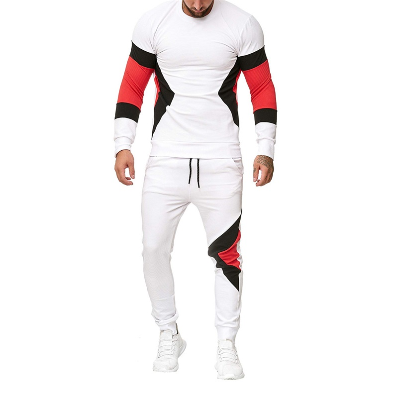 White Red Casual Mens Sweatshirt+Drawstring Pant Autumn Winter Slim Fit Sweatshirts Warm Sports Tracksuit Male
