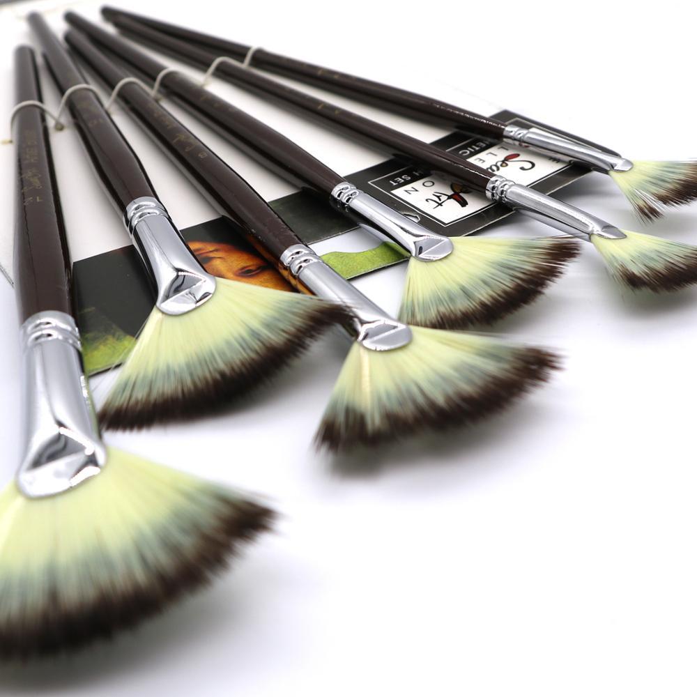 SeamiArt 6Pcs Fan shaped Nylon Hair Gouache Watercolor Paint Brush Set for School Painting Drawing Painting Brush Art Supplies 5