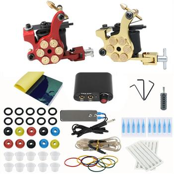 Starter Tattoo Kit 2 Tattoo Machines Guns Black Power Supply Permanent Makeup Body Art Tool 2 tattoo machine guns power supply pigment inks sets body art permanent makeup professional tattoo set