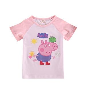 peppa pig kids short-sleeved t-shirt cartoon animation peripheral 3 styles 90-120cm 2-8 years summer cotton children's clothing