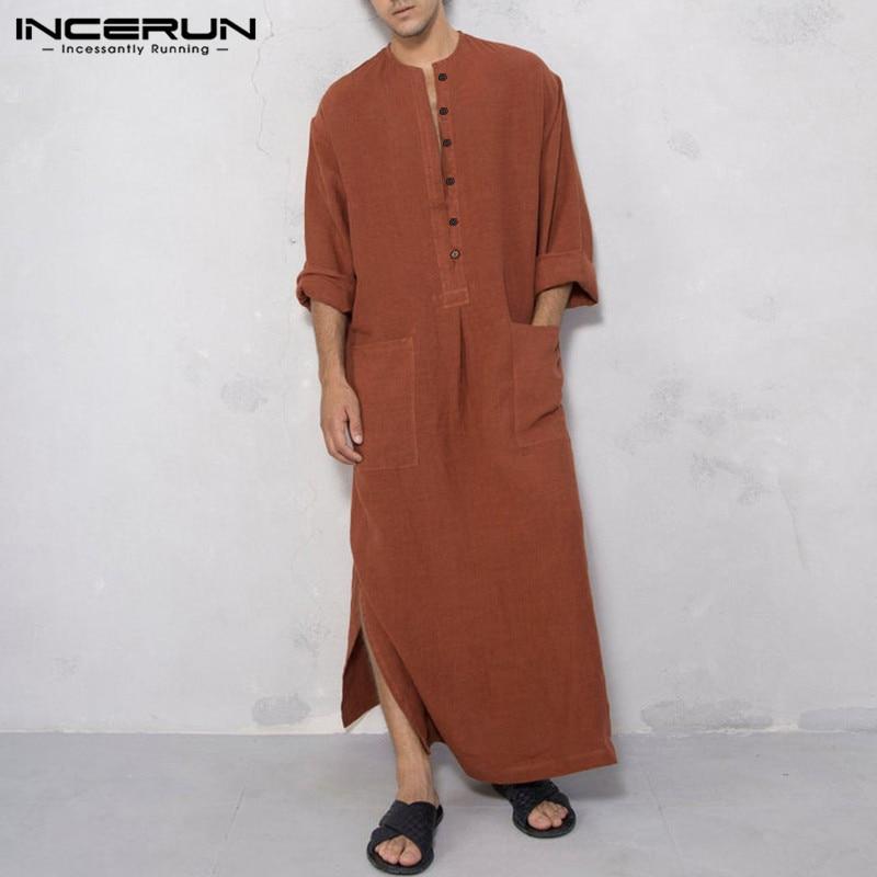 INCERUN Men Islamic Arabic Kaftan Muslim Clothes Solid Long Sleeve Pockets Abaya Saudi Arabia Retro Mens Robes Jubba Thobe 2019