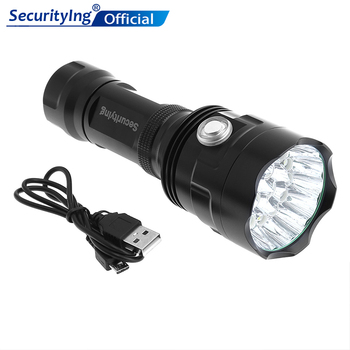 SecurityIng Super Bright 18x XM-L T6 LED 9000Lumens Flashlight Torch with 6 Modes Light Support USB charging for Outdoor securitying 10w xml l2 led multi function flashlight usb charging handheld bracket light with 3 modes light for patrolling