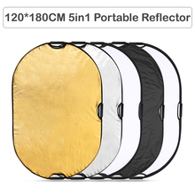 "5 in 1 120x180cm Studio Photo Portable Reflector Photography Outdoor Handle Round Collapsible Multi Disc Oval Reflector 31""*47"""